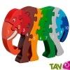 TOUT ALLANT VERT: Puzzle en bois éléphant avec nombres de 1 à 10