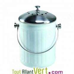 Poubelle compost blanc anti odeur pour cuisine 4 litres for Seau compost cuisine