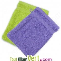 Gants de toilette en ponge de coton biologique 21x16cm - Porte gant de toilette ...
